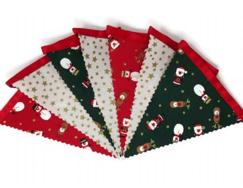 CHRISTMAS BUNTING   Stars Cream - Santa Reindeer  - Red Ribbon - 3m - 14 flags (single-sided)